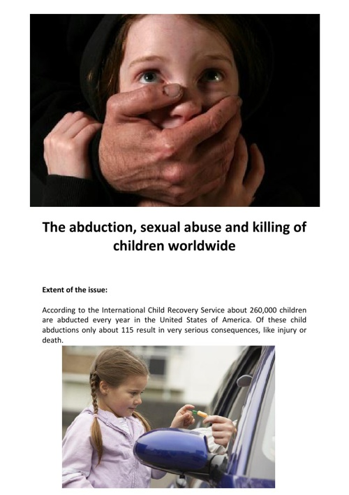 the issue of child abduction in the united states The government of the united states has designated the office of children's issues of the department of state as its central authority for child abduction cases.