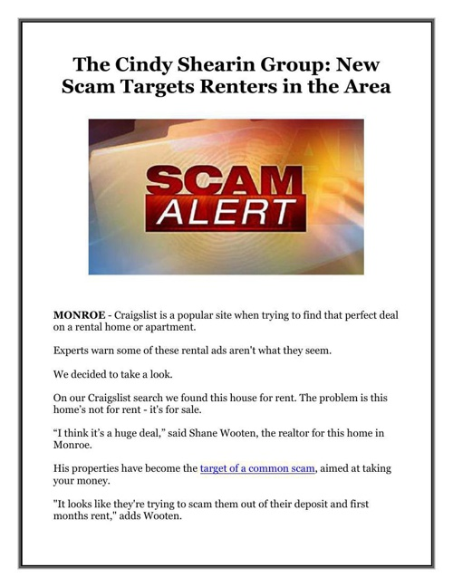 The Cindy Shearin Group: New Scam Targets Renters in the Area