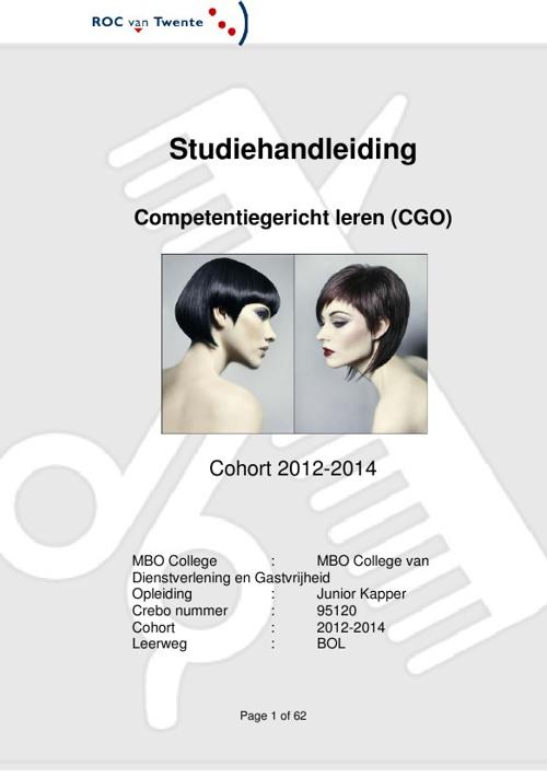Studiehandleiding Haarverzorging Junior Kapper 2012 - 2014