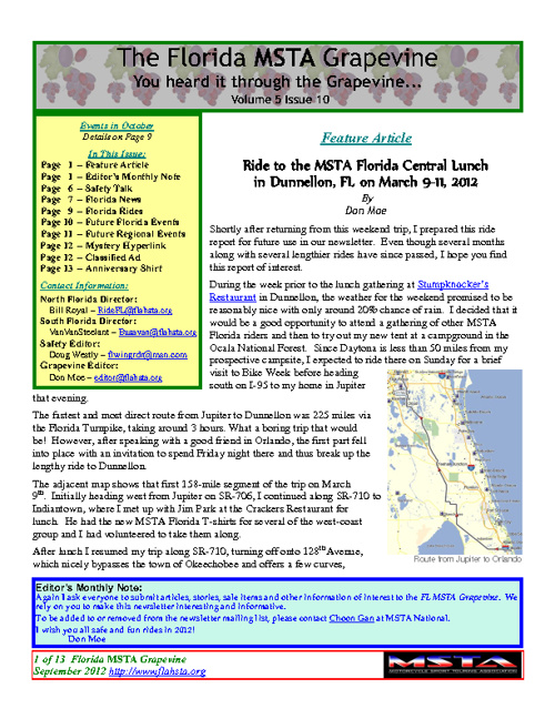 October 2012 Florida MSTA Newsletter