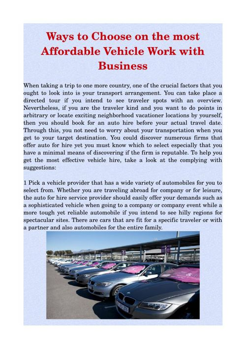 Ways to Choose on the most Affordable Vehicle Work with Business