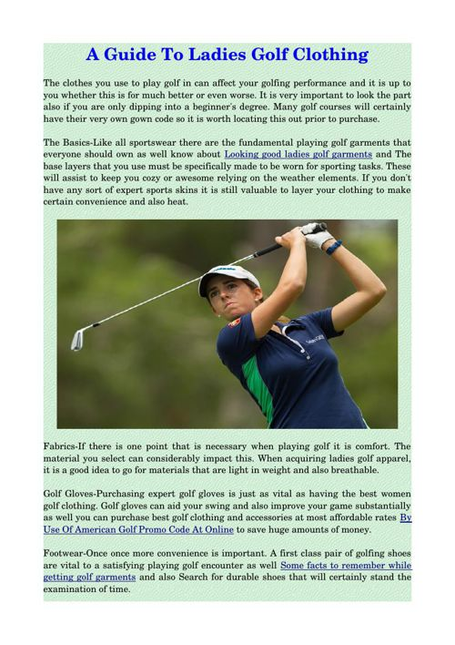 A Guide To Ladies Golf Clothing