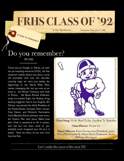 Fremont Ross High School Class of 1992 - 20th Reunion Directory