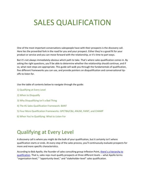 Sales Qualification