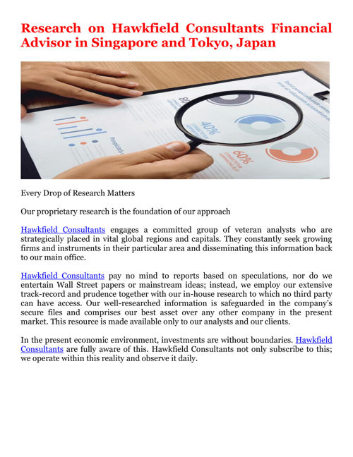 Research on Hawkfield Consultants Financial Advisor in Singapore
