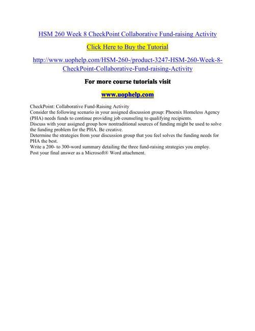 HSM 260 Week 8 CheckPoint Collaborative Fund-raising Activity