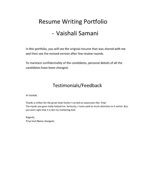 Resume Writing Portfolio