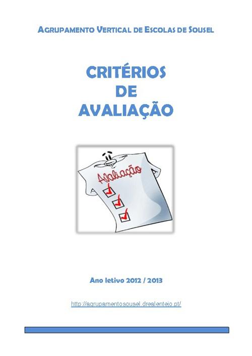 Critérios de Avaliação - Ano Letivo 2012-2013