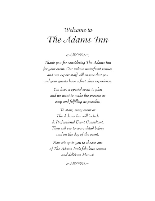 Adams Inn Function Menus