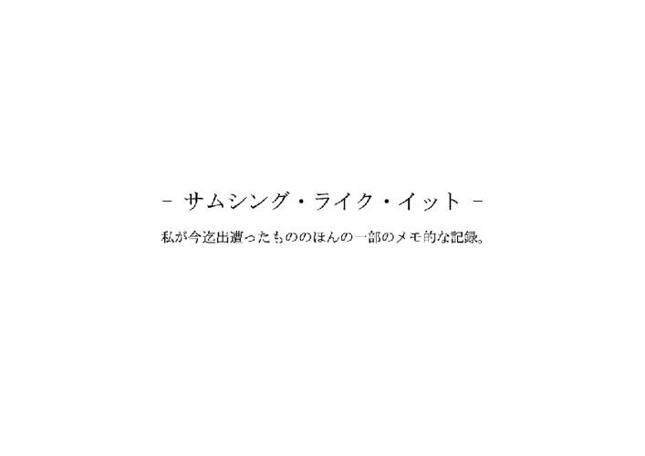 住吉 明子 展覧会 「サムシング・ライク・イット」 / 転写厳禁