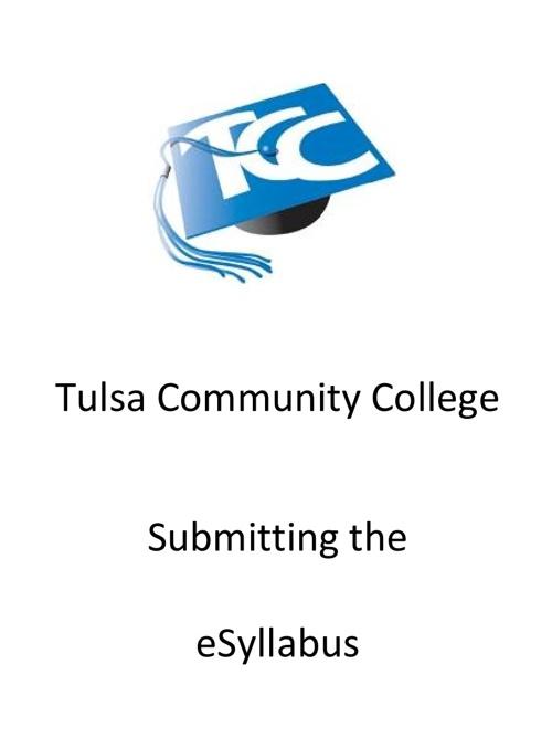 Submitting the eSyllabus