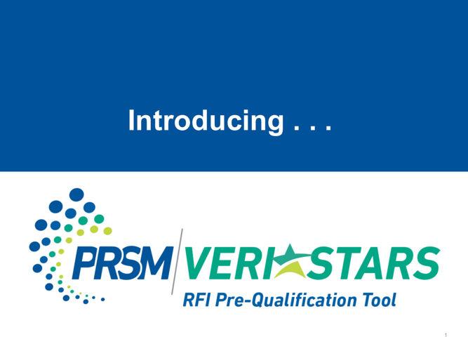 PRSM Veristars RFI Pre-qualification Tool - FINAL
