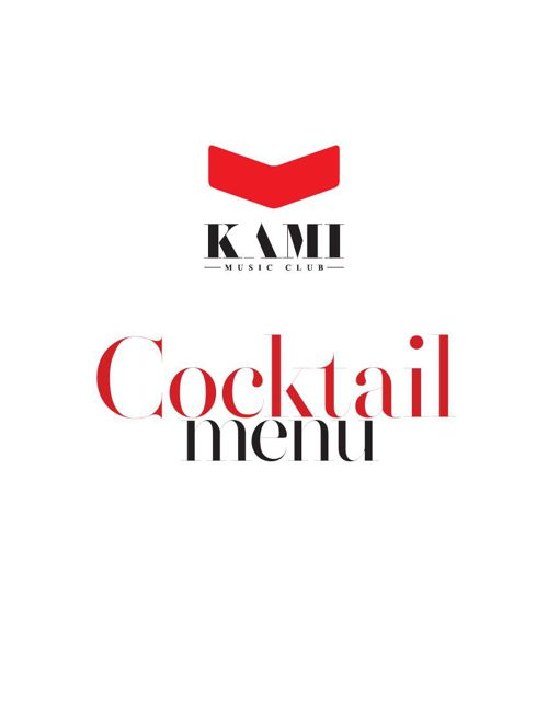 Kami Music Club Cocktail menu