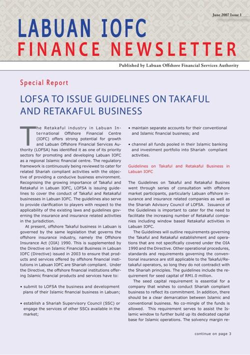 Newsletter - Issue 1, June 2007