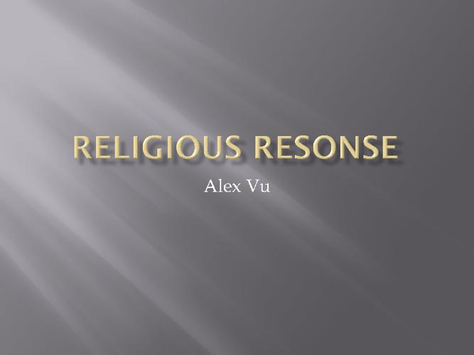 Religious Response Chapter 21 Alex Vu