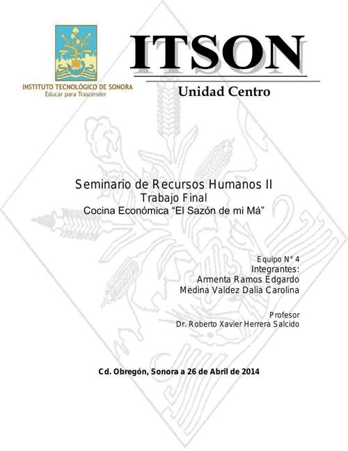 Seminario de Recursos Humanos II Trabajo Final