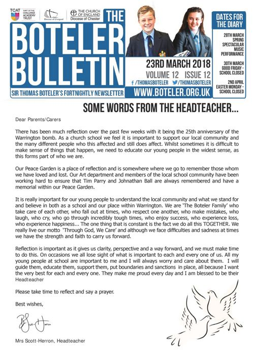 Boteler Bulletin 23rd March 2018
