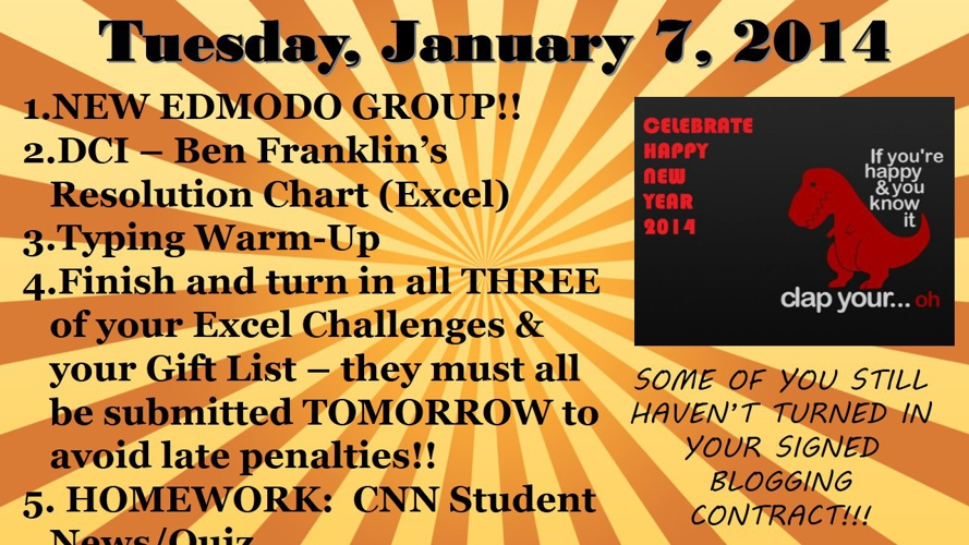 Week of Tuesday, January 7 - Friday, January 10, 2014