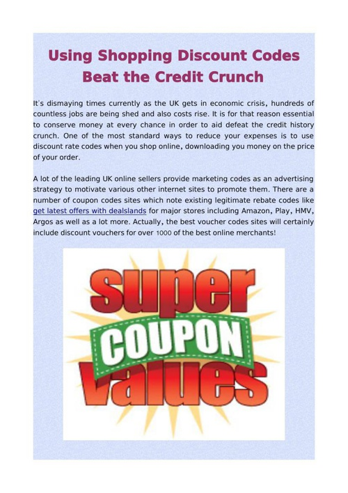 Using Shopping Discount Codes Beat the Credit Crunch
