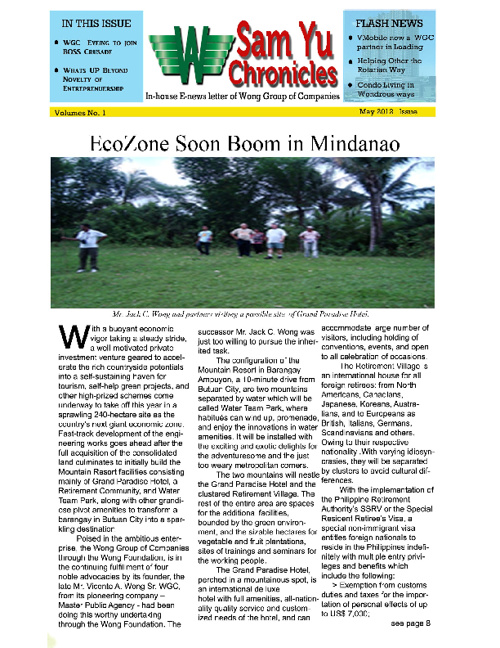 Sam Yu Chroniles Issue May 1.2