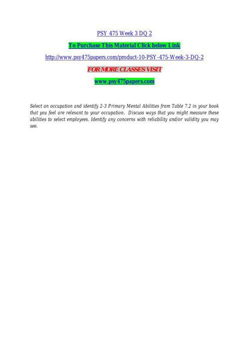 PSY 475 Week 3 DQ 2