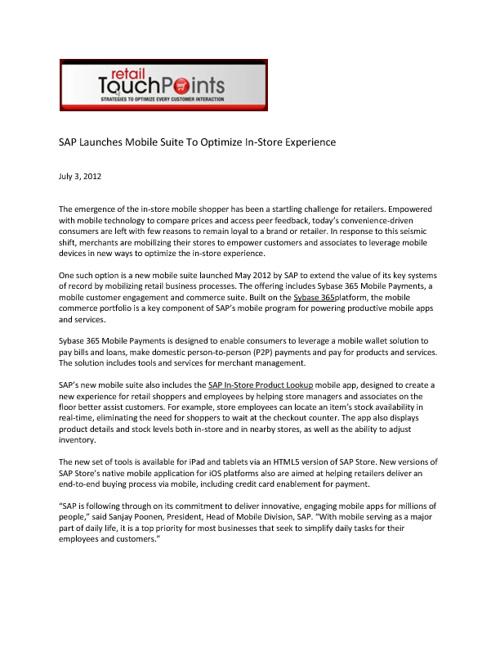 July 2012 SAP Retail Media Coverage