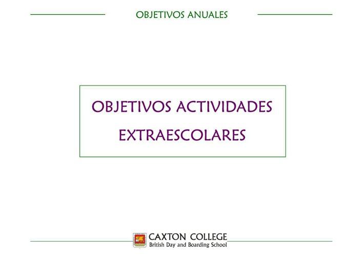 Objetivo Anuales Actividades Extraescolares