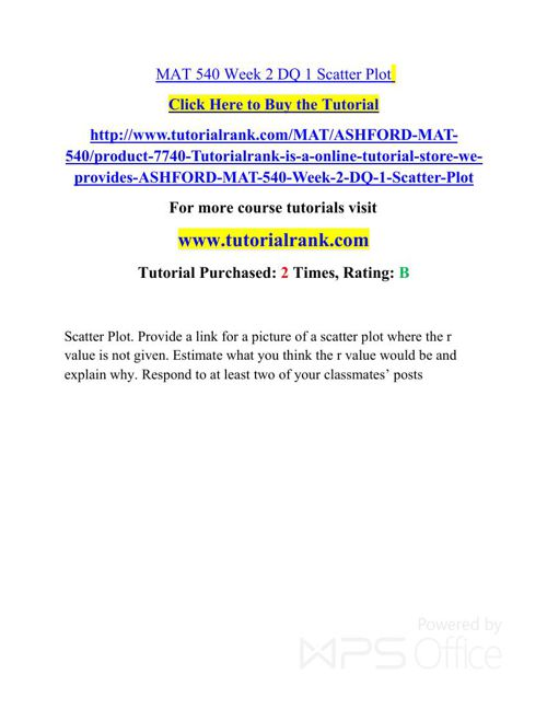 MAT 540 ASH Courses /TutorialRank