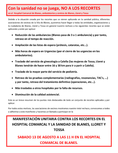 Manifestació unitária contra les retallades sanitàries