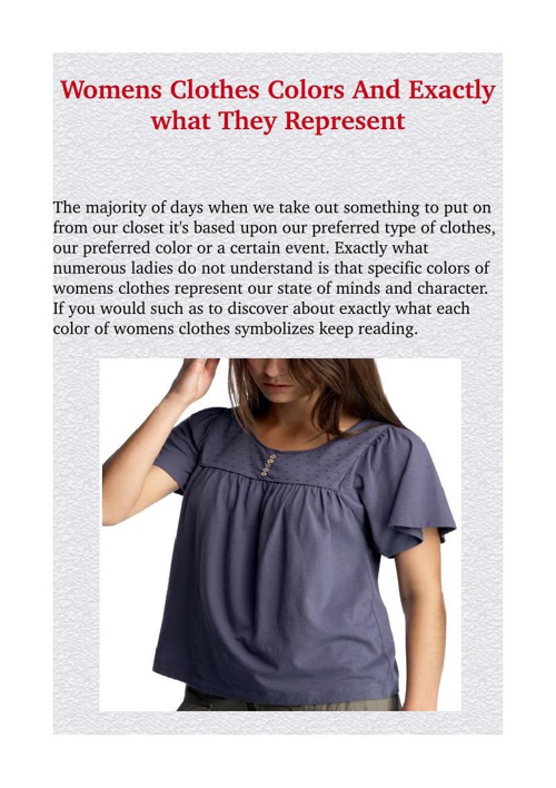 Womens Clothes Colors And Exactly what They Represent