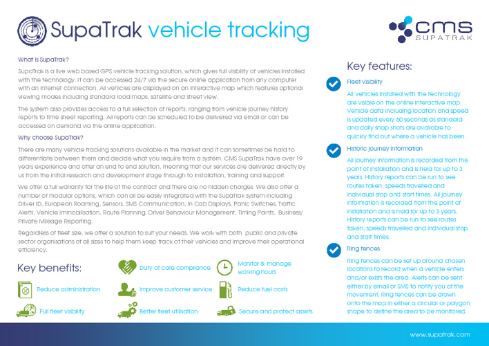 CMS SupaTrak - Product Brochure