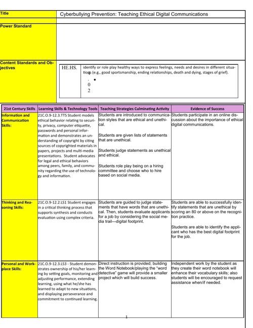 WVDE Lesson Plan Format for Teaching Ethical Digital Comm