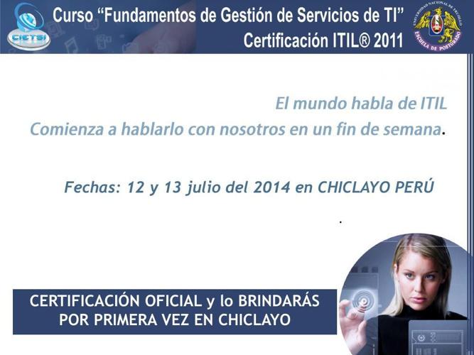 Curso Fundamentos de Gestión de Servicios TI: 12 y 13 de Julio 2
