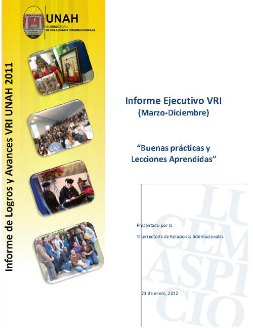 Informe de Logros y Avances VRI UNAH 2011