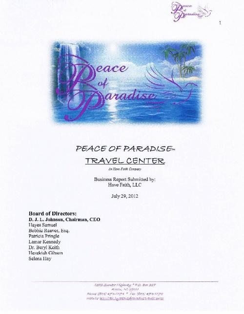 Peace of Paradise Travel Center Venture Prospectus