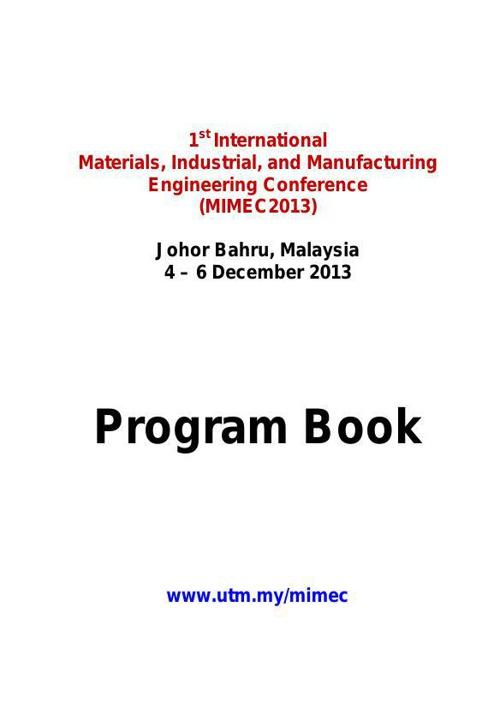 MIMEC2013 Program Book