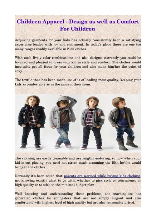 Children Apparel - Design as well as Comfort For Children