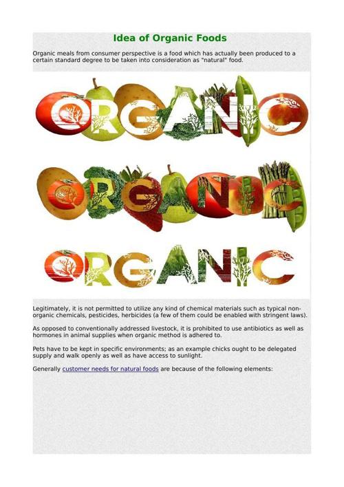 Idea of Organic Foods