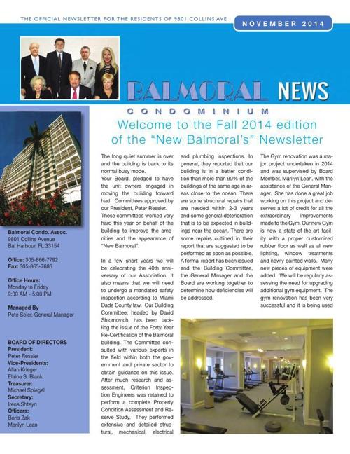 Balmoral November Newsletter