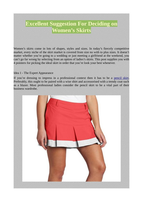Excellent Suggestion For Deciding on Women's Skirts