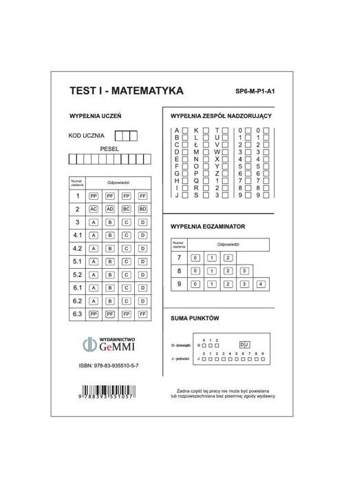 karta_odpowiedzi klasa 6 matematyka