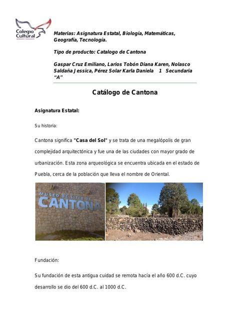 Catalogo de Cantona