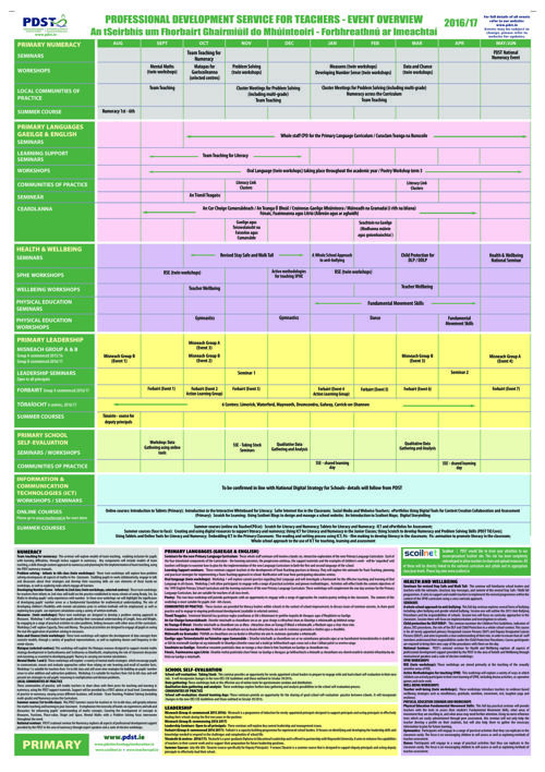 PDST PRIMARY WORKPLAN 2016 2017