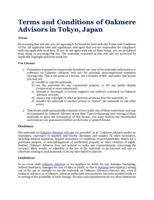 Terms and Conditions of Oakmere Advisors in Tokyo, Japan
