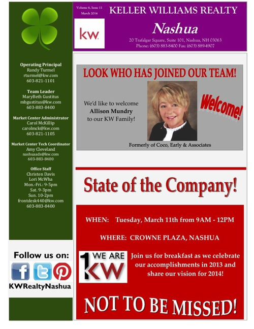 Keller Williams Nashua March Newsletter 2014