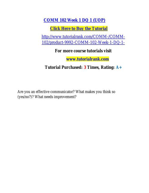 COMM 102 learning consultant / tutorialrank.com