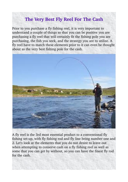 The very best Fly Reel For the cash