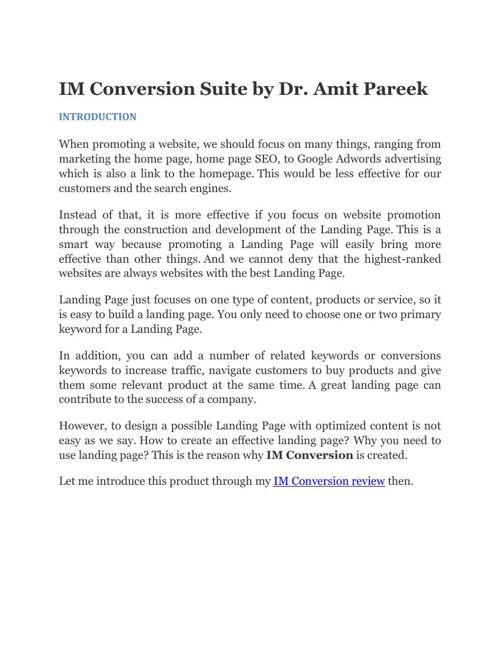 IM Conversion Review IM Conversion Suite by Dr. Amit Pareek