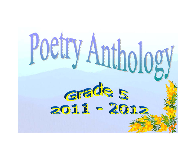 Grade 5 Poetry Anthology