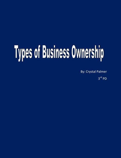 Types of Business Ownership Project